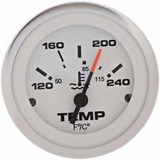 WATER TEMP GAUGE 65509P LIDO TEMPERATURE 12V 120-240F WHITE CHROME BEZEL BOAT