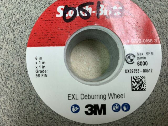 "3M 05132 SCOTCHBRITE EXL DEBURRING WHEEL 6/""X1/""X1/"" 9S FINE FREE SHIPPING"
