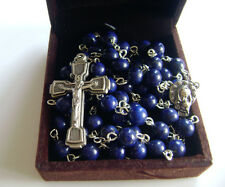 Natural Real Lapis lazuli beads Rosary Cross CRUCIFIX CATHOLIC NECKLACE gift box