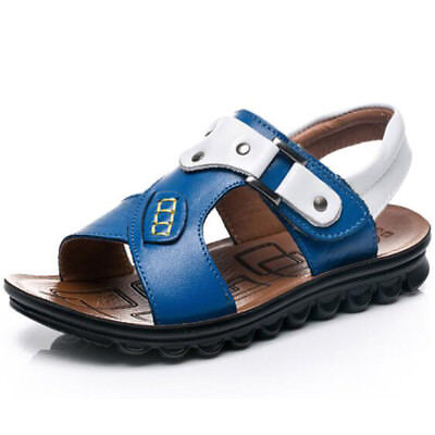 Summer Boys Leather Open toe Sandals Sandy Beach Student Casual Shoes Leisure SZ