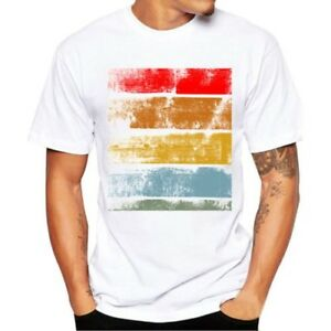 Hombre-Casual-manga-corta-basico-Camiseta-Verano-Holgado-Deportes-algodon-blusa