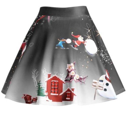 Women Christmas Santa 3D Print Flare Elastic High Waist Cosplay Ball Gown Skirt