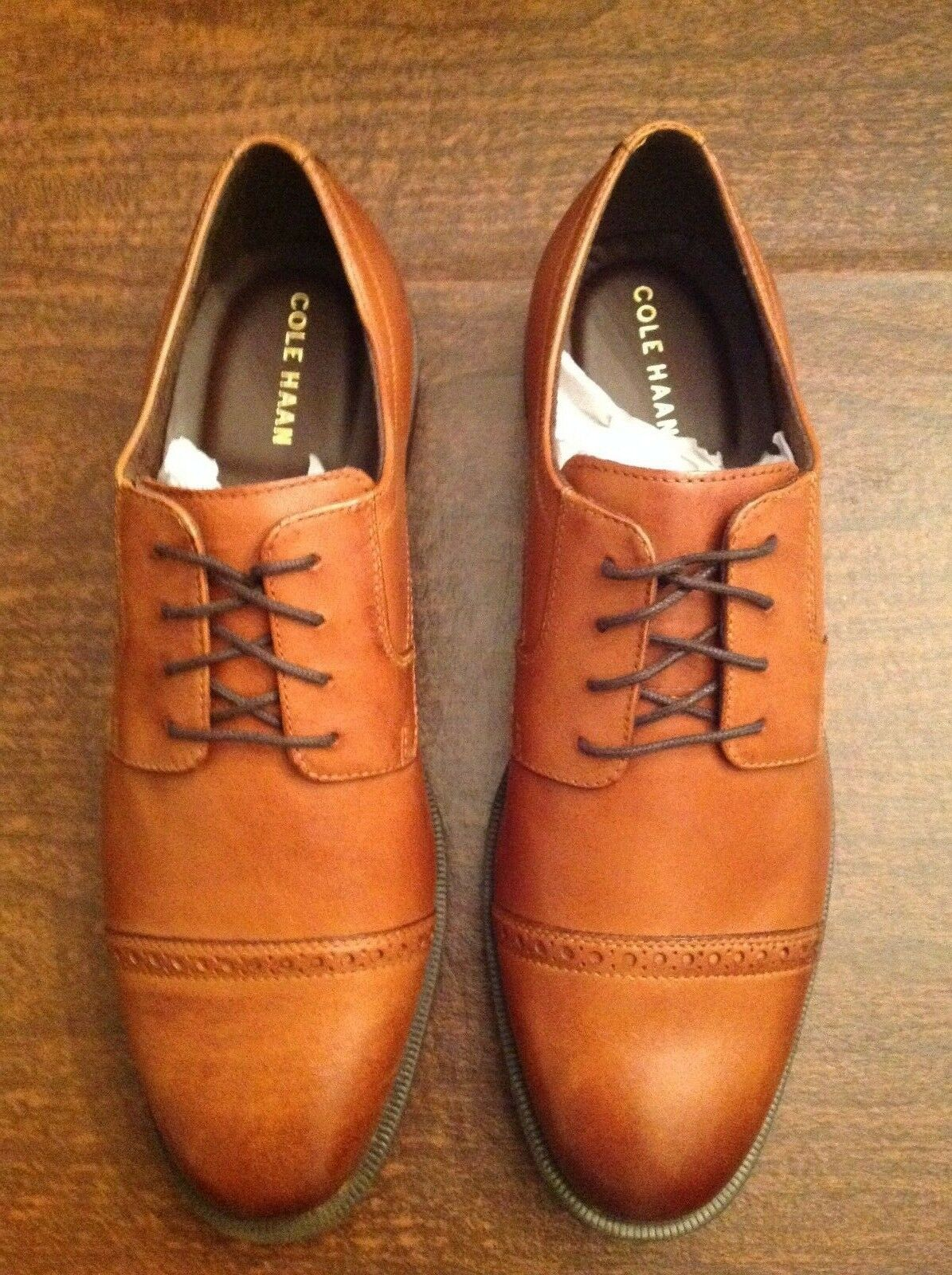 Cole Haan Men's Dustin Cap Toe Brogue Tan Leather Oxford Dress shoes 11.5M   NIB