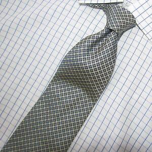 Superb Robert Talbott Nordstrom Black Gray & Beige Check Silk Tie 60 X 4