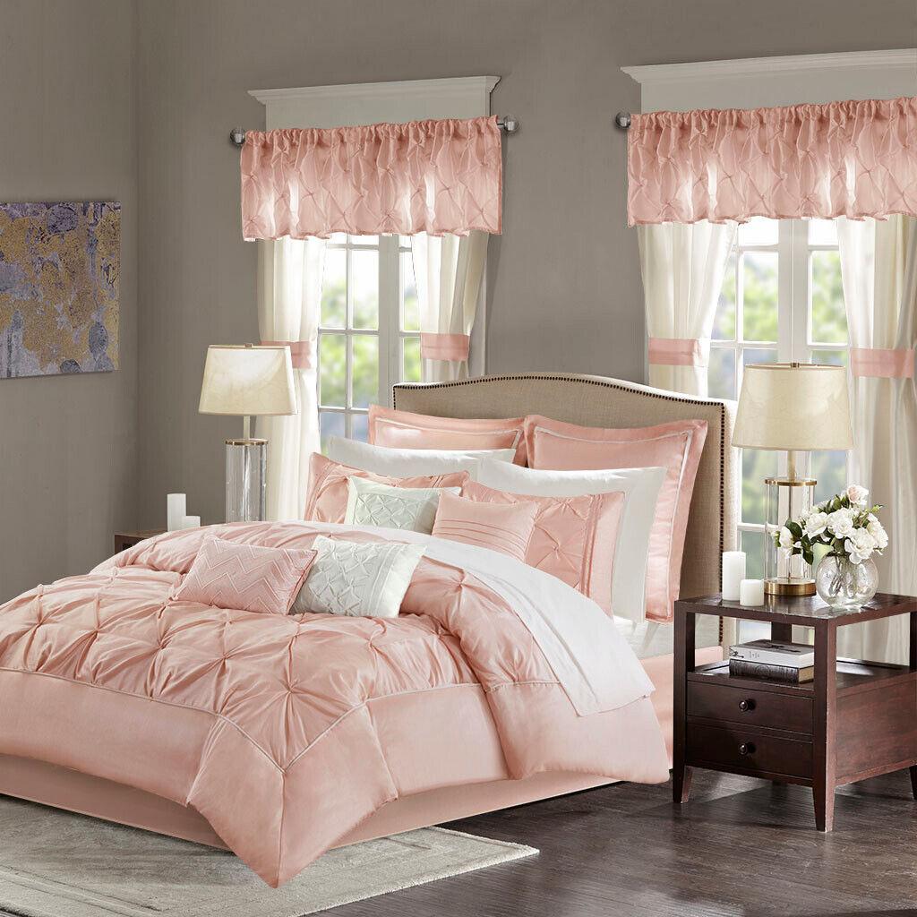 Beautiful Blaush Tufted 24 pcs Comforter Sheets Window Cal King Queen Set New