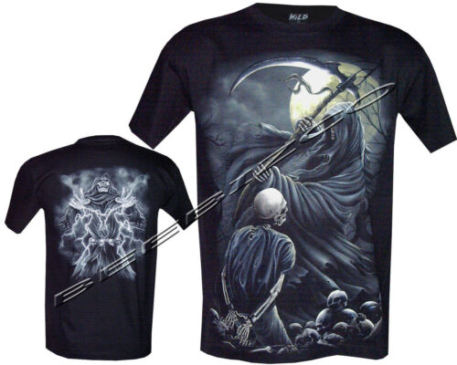 New Grim Reaper Skull Death Glow In The Dark T Shirt,Front /& Back Print M XXL
