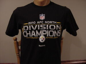 size 40 87ab4 91a14 Details about AWESOME Pittsburgh Steelers 2010 AFC North Champs Mens Md  Reebok T-Shirt, NICE!