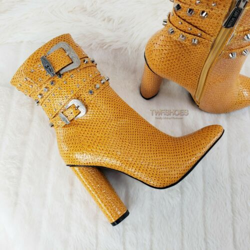 """CR Yellow Strappy Stud 4/"""" Chunky Heel Ankle Boots Size 5.5-10"""
