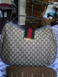 Authentic-Gucci-Brown-Canvas-Leather-Sherry-Web-Hobo-Handbag-Beautiful-Preowned