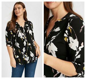 ex-Evans-Floral-Print-Buttons-Versatile-Blouse-Tunic-Top