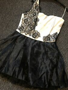 Stunning-Black-Cream-Ones-Shoulder-Party-Dress-Size-16-By-frock-me-new