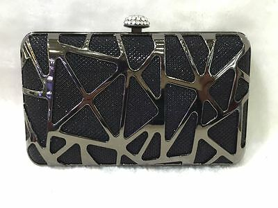 Black ~ Black Mesh Shiny Crystals HARD CASE CLUTCH EVENING BAG
