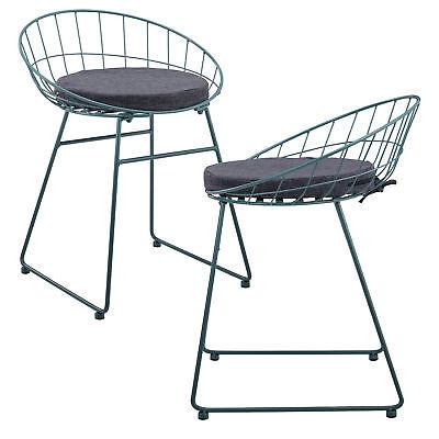 [en.casa]®  Set de 2 Sillas de metal de diseño - 65x50x47 cm - con cojín asiento