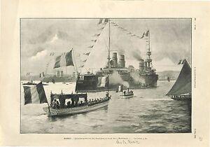 Brest-President-Emile-Loubet-a-Bord-du-Montcalm-Route-vers-Russie-GRAVURE-1902