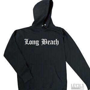 Long Beach City Black Premium Pullover Sweater Hoodie Cotton Blend