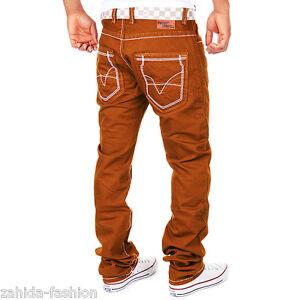 ZAHIDA-Uomo-Jeans-Fit-Pantaloni-Spessore-Cuciture-Cuciture-Clubwear-marrone-brown-vintage-nuovo
