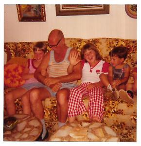 Vintage-70s-PHOTO-Family-Pic-Grandpa-w-Grandchildren-Boys-amp-Girls-On-Couch