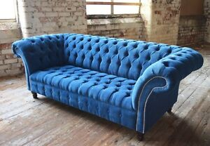 Incroyable Image Is Loading MODERN HANDMADE TEAL BLUE VELVET CHESTERFIELD SOFA COUCH