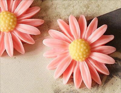 4x Resin Cabochons Blumen zum Kleben 26mm lachsrosa tm232