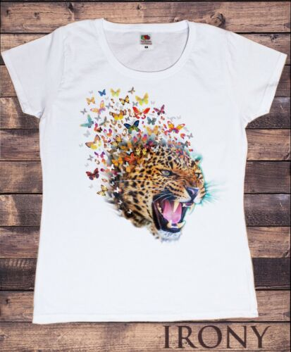 TS867 Women/'s White T-Shirt Leopard Colourful Butterfly Explosion-Graphical