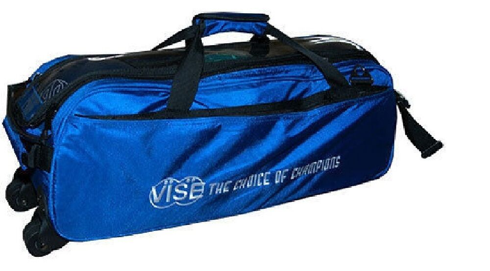 Vise 3 Ball Tote Bowling Bag with tow wheels color bluee