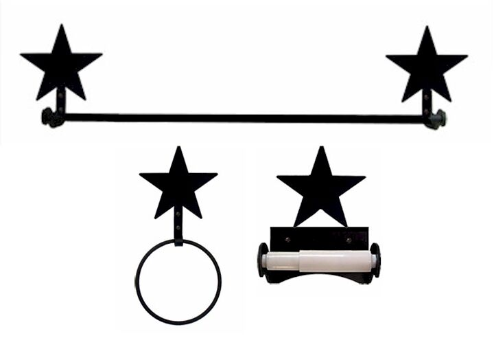 Wrought Iron Star Bath Set with Roller Style Toilet Paper Holder