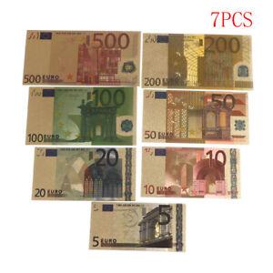 7-Pcs-Euro-Billete-Hoja-de-oro-Papel-moneda-Manualidades-Coleccion-Nota-Moneda