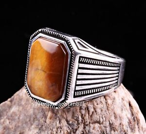 Authentic Style Tigers Eye Gemstone Solid Turkish 925 Sterling Silver Men Ring