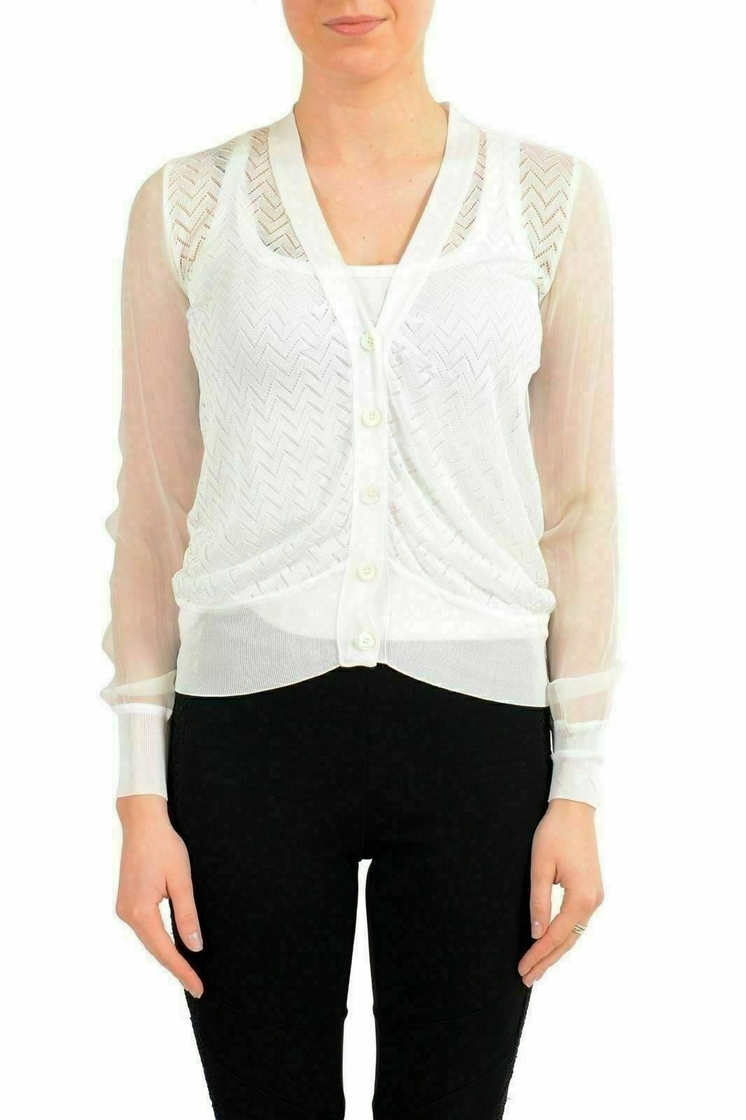Viktor & Rolf Women's Silk White See Through Cardigan Light Sweater US S IT 40