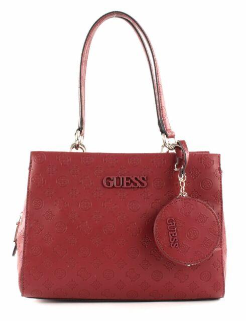 Details zu GUESS Aline Society Satchel Handtasche Tasche Rosewood Rosa Weiß