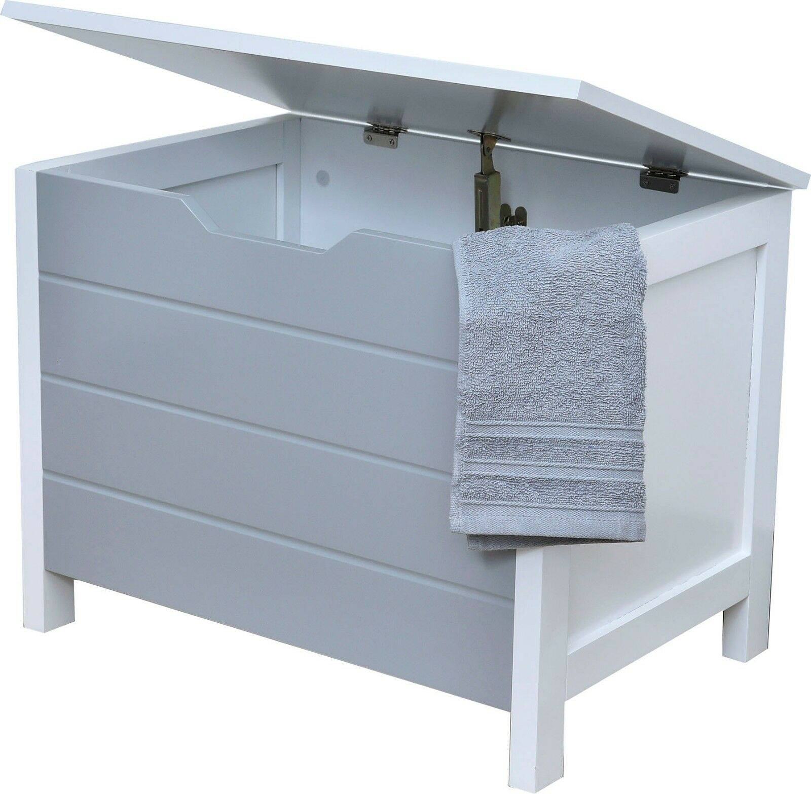 Evideco Wooden Storage Chest for Towels Linen Toys- Modern D- White and Grey