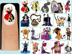 60x Disney Villains Nail Art Decals Free Gems Maleficent Lucifer