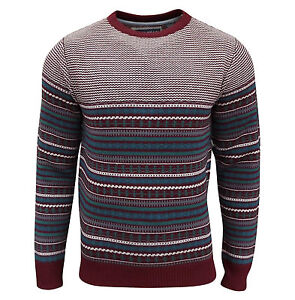 Soul-Star-Homme-Stifler-nordique-a-Rayures-Pull-tricot-rouge-profond