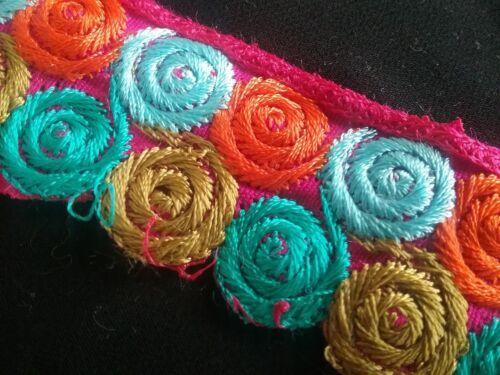 32 mm Varios Colores Remolino adorno bordado encaje//Recortar x 1 M