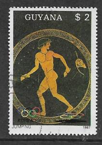 Guyana-Postal-publicacion-1987-Usado-2-Sello-Conmemorativo-Juegos-Olimpicos-Seul-1988