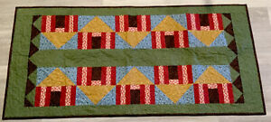 Patchwork Quilt Wall Hanging Or Table Topper, Houses, Triangles, Country Prints