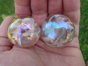 2-BOULDERS-35mm-PINK-FAIRY-Marbles-glass-ball-jellyfish-iridescent-Giant-LARGE