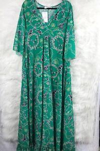 772fd9b2a8a Image is loading NWT-OShopLive-2XL-Green-Maxi-Ruffle-Dress-Bohemian-