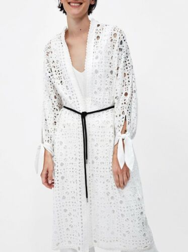 Zara M Broderie Robe Kimono Dentelle Robe Dentelle Longue Ceinture Maxi Ceinture L S rwxXrTP
