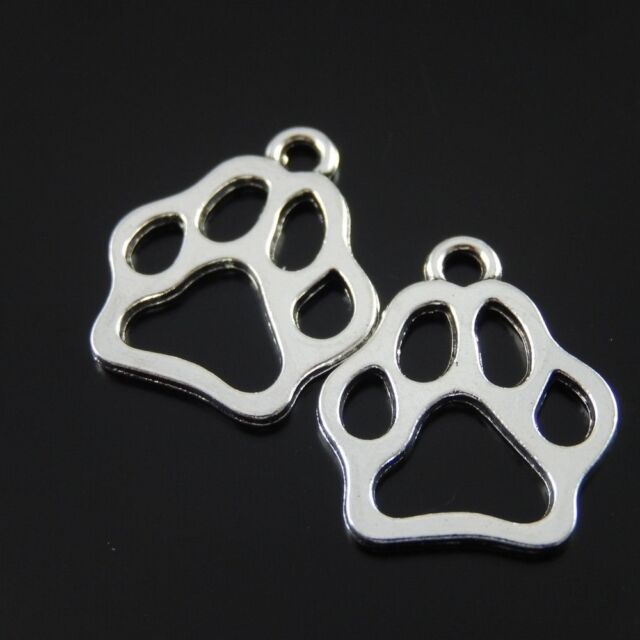 19236 Antiqued Silver Plated Funny Cute Animal Cat Dog Paw Pendant Charms 50pcs
