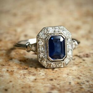 Art-Deco-2-75-Carat-Blue-Sapphire-Emerald-Cut-Vintage-925-Silver-Wedding-Ring