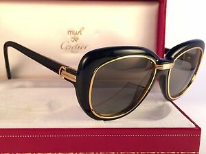 80c629d7ad71 Image is loading VINTAGE-CARTIER-CONQUETE-51MM-BLACK-24K-SUNGLASSES-18K-