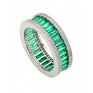SILVER BAGUETTE EMERALD & CUBIC ZIRCON MICRO PAVE FULL ETERNITY ...