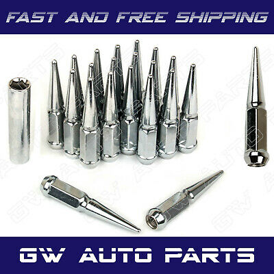 """20PCs 1//2/""""-20 SPIKE CHROME SOLID STEEL LUG NUTS 4.5 INCHES TALL WITH KEY"""