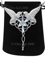 Arwen Evenstar & Elven Leaf Brooch Combined Necklace Silver Hobbit Rings LOTR