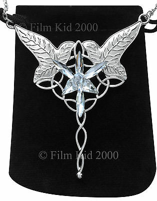Arwen Evenstar & Elven Leaf Brooch Combined Necklace Silver Hobbit Rings LOTR
