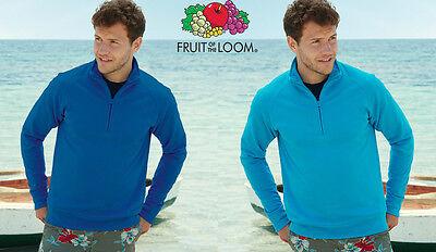 FELPA con mezza zip GIACCA LEGGERA FRUIT OF THE LOOM UOMO Cotone 10 colori