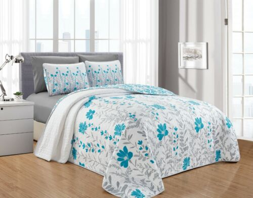 Leah 6PC Printed Blooming Flowers Bedspread Oversize Coverlet