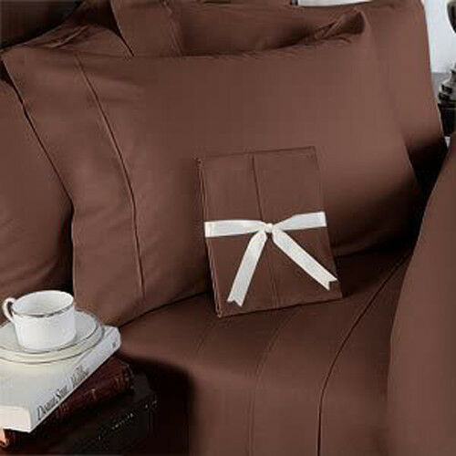 Chocolate Solid Sheet Set Choose Sizes 1000 Thread Count Pure Egyptian Cotton