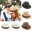 Men-Women-Summer-Beach-Sun-Straw-Fedora-Hat-Trilby-Cuban-Panama-Wide-Brim-Cap-TR thumbnail 2